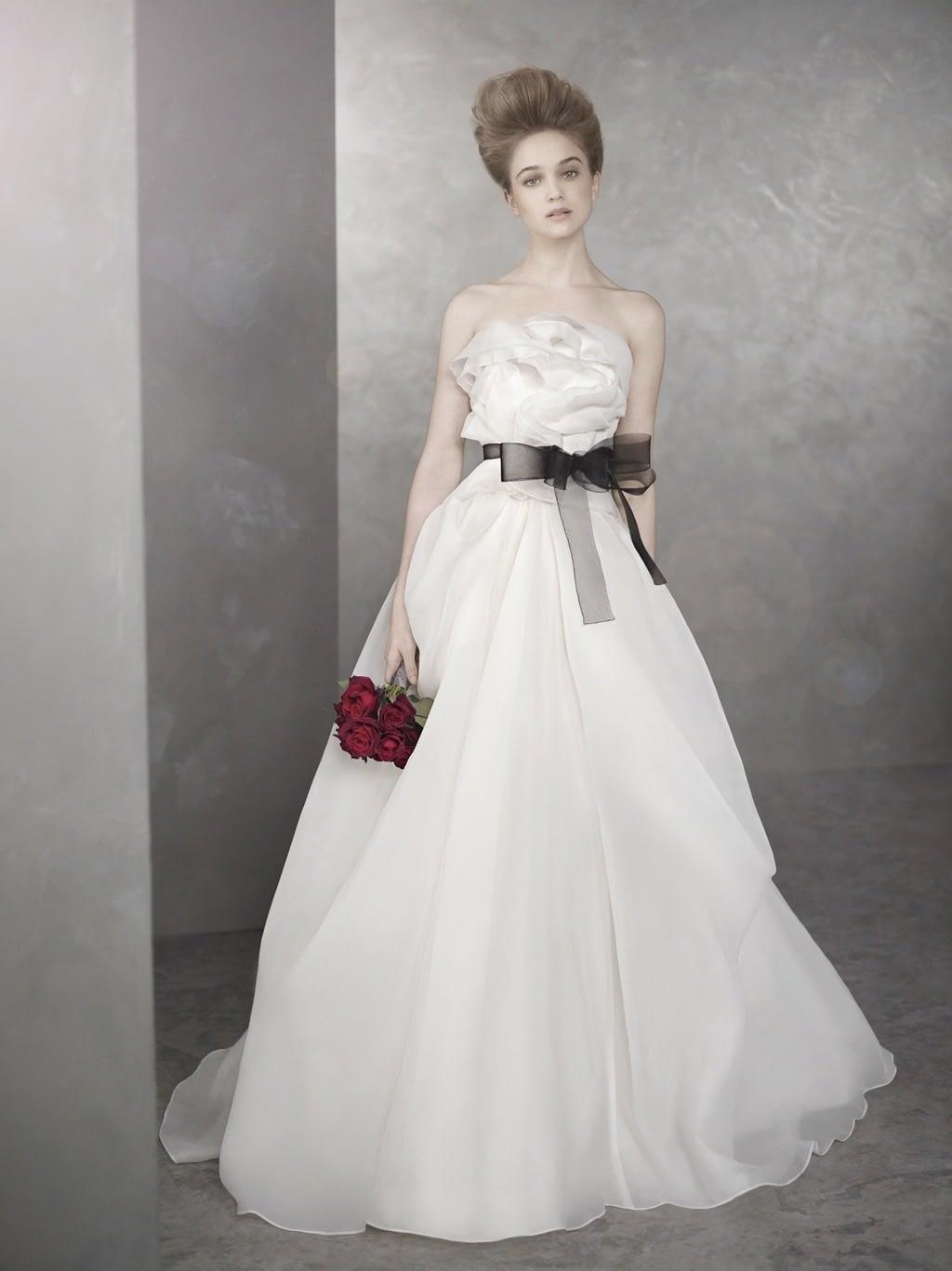 white by vera wang wedding dresses spring  bridal gown romantic a line blacl sash